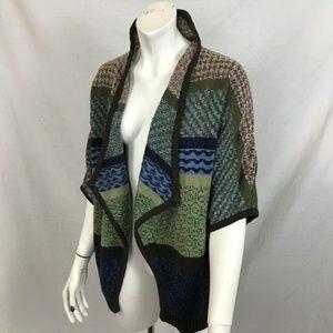 Liz Claiborne Vest Drape Front Dolman Mix Pattern